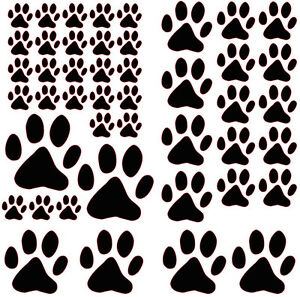 45 Assorted Paw Prints, cat dog, vinyl wall, car, sticker, self adhesive decal