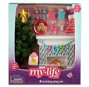 My Life As Christmas Holiday Play Set 21 Pc Fireplace W/ Light Up Tree