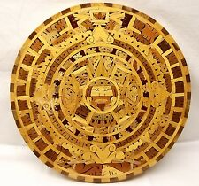 Aztec Multi Wood Inlay Calendar Wall Plaque Plate Sun Stone Mexico Folk Art Maya