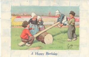 ARTIST FEIERTAG - DUTCH CHILDREN PLAYING ON A LOG SEESAW 1927 POSTCARD