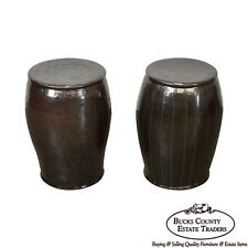 Glazed Pottery Pair of Signed Garden Stools