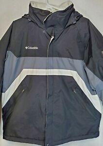 Columbia Jacket Waterproof/Breathable Men's Large Black/White/Gray Preowned