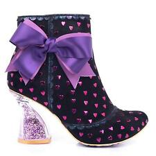 Irregular Choice 'Outta Time' (C) High Heel Black Hearts Ankle Boots Shoes