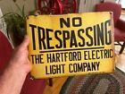 Porcelain Original Sign Hartford Electric Co. Great Color