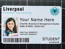 Personalised Fake Student ID Card PVC Plastic. Novelty, prank, prop & theatrical