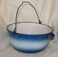 Blue & White Kettle Pan with Bail and handle Graniteware enamel Porcelain