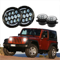 "for Jeep 97-2017 JK LJ TJ JKU 7 inch LED Headlights DRL&Turn Signal+4"" Fog Light"
