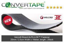 Velcro® Brand ALFA-LOK™ Fastener Black Reclosable Adhesive Strip 25mm x 1Metre