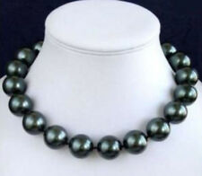 Charming! 16mm South Black Sea Shell Pearl Necklace 18inch JN978