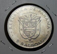 Panama 5 Balboas, 1975 Unc~MINT ERROR~Non Silver Coin Marked as .925~RARE~Fr/Shi