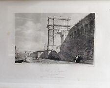 ITALIA, ANCONA,  ARCH OF TRAJAN, GRABADO ORIGINAL DE HAKEWILL, 1820