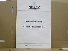Norev Collectors Katalog, Neuheitenblätter 10-12 2014, englisch, 8 Seiten