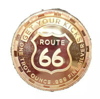 Sunshine Mint Route 66 1 Troy Oz. .999 Fine Silver Round 8 States Great Toning!