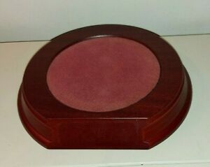 Round Plinth Display Stand - recessed & felted - space for name plaque