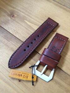 """Handmade distressed brown """"historica"""" leather strap for Panerai 27,26, 24,22mm"""