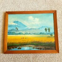 Hawaii Tropical Plein Air Painting Impressionism Oil on Canvas Signed Large