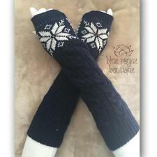Navy Blue Snowflake Houndstooth Cable Knit Arm Warmers Fingerless Sweater Gloves