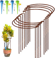 More details for 8 pack rusty bow plant support stakes, half round natural rust flower support 4