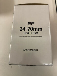 Genuine Canon EF 24-70mm f/2.8L II USM with Lens Case and Hood and Box