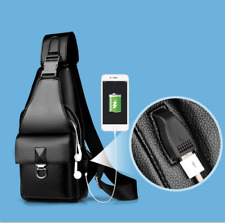 Sling Man Bag Leather  Mens Crossbody chest Bag Shoulder Bag Handbag Satchel Bag