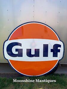 Vintage 1960's GULF Service Station 6 ft. Porcelain Sign - Gas & Oil