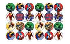 24x MARVEL SUPER HERO edible Cup Cake Toppers ICING sheet birthday cake party
