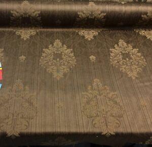 Fabricut Brown Latte Damask Drapery Fabric By the yard