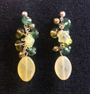"""Flower Earrings Lemon Yellow Lime Green Dangle Czech Art Glass Silver 1.6"""" C149"""