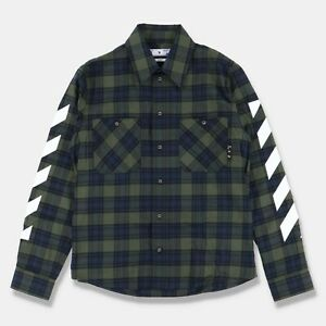 Off-White Green Plaid Diagonals Flannel Shirt   Size S Relaxed Fit SS21 RRP $670