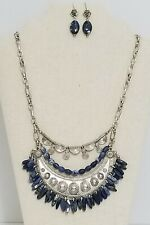 HANDCRAFTED SODALITE AND PEWTER STATEMENT NECKLACE AND EARRING SET