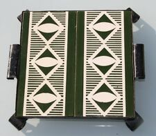 2 Kacheln Fliese Boizenburg Untersatz Schmiedeeisen Art Deco grün beige Fries