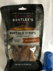 Dentley Nature`s Chews Buffalo Strips For Light Chewers All Natural 1-3.5 OZ Bag