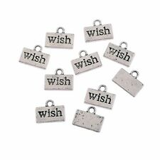 10pcs Wish Word Encourage Beads Tibetan Silver Charms Pendant DIY 10*7mm