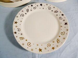 The Pampered Chef Dessert Plates Set of 8 White Gold Celebration Stars