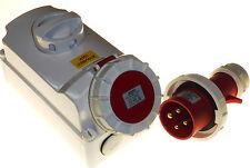 32 Amp 4 Pin Interlocked Socket with 32A Plug Waterproof IP67 380 - 415 Volt