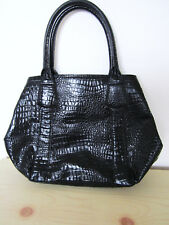 LADIES L K BENNETT CROC CROCODILE EFFECT BLACK LEATHER HANDBAG SHOULDER BAG VTG