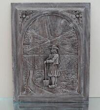 ANCIEN PANNEAU PLAQUE FRONTON BOIS SCULPTE VINTAGE ART BRETON BREIZH BOISERIE N2
