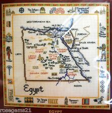 MAP OF EGYPT - Counted Cross Stitch KIT by Susan Ryder-Heritage Crafts UK