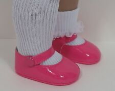 """Dk (Dark) Pink Patent Side Snap Doll Shoes For 18"""" American Girl (Debs)"""