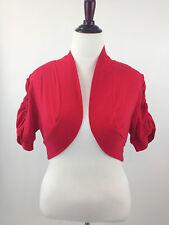 Ambiance Apparel Cinched Short Sl Cotton Shrug Jacket Bolero Cardigan 1X 2X 3X