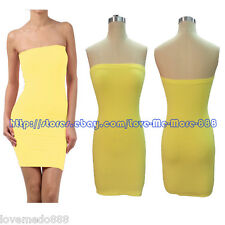 Basic Clubwear Casual Party Stretch Tube Strapless Slim Fit  Bodycon Dresses 2XL