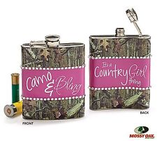 Mossy Oak Liquor HIP Flask CAMO & BLING Hunting Redneck or Country Party Girls