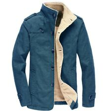 Winter Mens Slim Fit Cotton Jacket Stand Collar Single Breasted Fleece Lined New