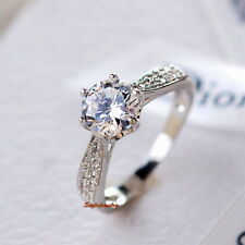 18k White Gold Plated 1.2 Carat Wedding Birthday Crystal Ring Size 8 R103