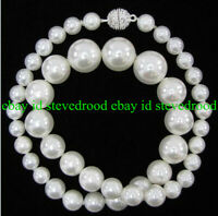 Fashion 8-14mm South Sea White Shell Pearl Round Gemstone Necklace 18'' AAA