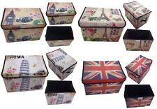 Storage Box with Lid Upholstered Paris Rome England London Box Organizer
