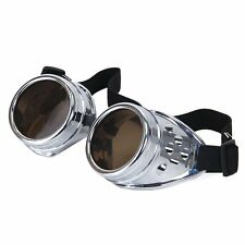 Silver with Brown Lenses Steampunk style cosplay adults fashion goggles glasses