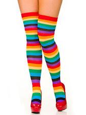 Clown Striped Rainbow Stockings Knee Socks Fancy Dress Ladies Accessory New