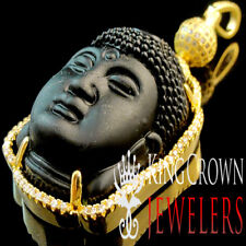 10K Yellow Gold Finish Black Onyx Charm Simu Diamond Religious Buddha Pendant