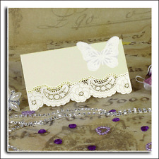 20 NAME PLACE CARDS 3D BUTTERFLY LASER CUT BOTTOM PEARL IVORY Size 50mm x 90mm